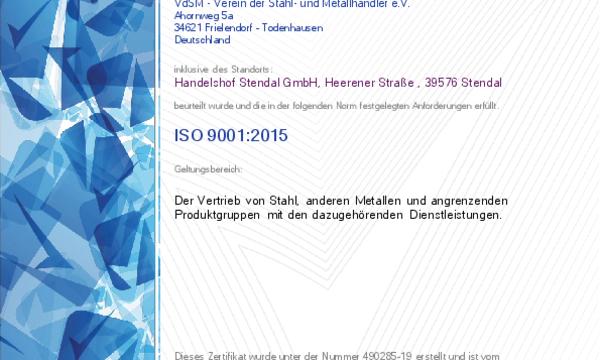 Zertifikat - Handelshof Stendal